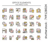 office elements   thin line and ... | Shutterstock .eps vector #749128024