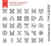 drone elements   thin line and... | Shutterstock .eps vector #749128300