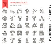 award elements   thin line and... | Shutterstock .eps vector #749128468