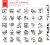 network analysis   thin line... | Shutterstock .eps vector #749128516