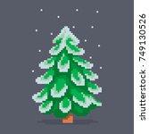 pixel art snowy christmas tree. ... | Shutterstock .eps vector #749130526