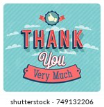 thank you very much vintage... | Shutterstock .eps vector #749132206
