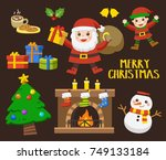 set of merry christmas and... | Shutterstock .eps vector #749133184