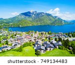 st. gilgen and wolfgangsee lake ... | Shutterstock . vector #749134483