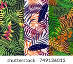 set of three seamless floral... | Shutterstock .eps vector #749136013