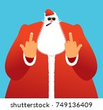 bad santa shows to fuck. angry... | Shutterstock .eps vector #749136409
