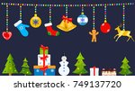 set of christmas symbols and... | Shutterstock .eps vector #749137720