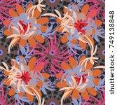 floral seamless texture.... | Shutterstock . vector #749138848