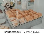 buffet of sweets at the wedding ... | Shutterstock . vector #749141668
