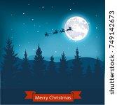 christmas nightly landscape . | Shutterstock .eps vector #749142673