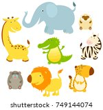 set of cute cartoon african... | Shutterstock .eps vector #749144074