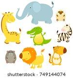 set of cute cartoon african... | Shutterstock .eps vector #749144074