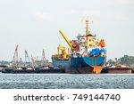 shipping port in bangkok... | Shutterstock . vector #749144740