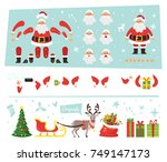 vector cartoon style set santa... | Shutterstock .eps vector #749147173
