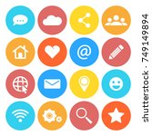 set of social networking icons. ... | Shutterstock .eps vector #749149894