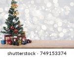 christmas tree on  light silver ...   Shutterstock . vector #749153374