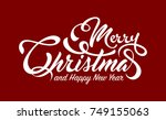 white text marry christmas and... | Shutterstock .eps vector #749155063