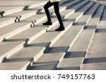 one teenage girl going up the... | Shutterstock . vector #749157763