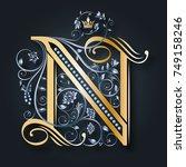 vector letter b. golden... | Shutterstock .eps vector #749158246
