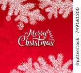 merry christmas vector text on... | Shutterstock .eps vector #749161300