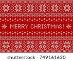 merry christmas greeting card... | Shutterstock .eps vector #749161630