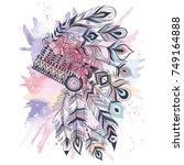 boho illustration with... | Shutterstock .eps vector #749164888