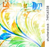 floral spring and summer design ... | Shutterstock .eps vector #74916538