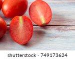 close up red cherry plum... | Shutterstock . vector #749173624