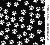 paw seamless pattern.... | Shutterstock .eps vector #749174833