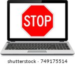 stop spam text on laptop screen.... | Shutterstock . vector #749175514
