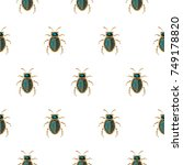 emerald and gold beetle brooch... | Shutterstock .eps vector #749178820