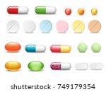 set of vector realistic pills