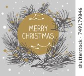 christmas postcard ornament...   Shutterstock .eps vector #749179846
