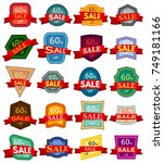 set of twenty discount stickers.... | Shutterstock .eps vector #749181166