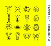 set of icons with monsters.... | Shutterstock .eps vector #749183068