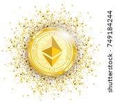 golden ethereum coin with... | Shutterstock .eps vector #749184244