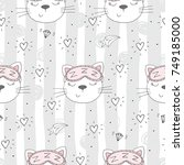 seamless pattern with cute... | Shutterstock .eps vector #749185000