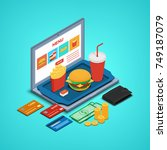 illustration. laptop with fast...   Shutterstock . vector #749187079