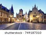 medieval ghent at night. belgium | Shutterstock . vector #749187310