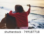 couple hugging on background... | Shutterstock . vector #749187718