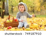 cute little child wearing bunny ... | Shutterstock . vector #749187910