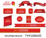 scroll red  merry christmas ... | Shutterstock .eps vector #749188600