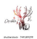 merry christmas  cartoon style... | Shutterstock .eps vector #749189299