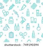 pills related medical pattern... | Shutterstock . vector #749190394