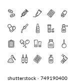 pills related medical black... | Shutterstock . vector #749190400