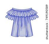 off the shoulder blue striped... | Shutterstock .eps vector #749190589