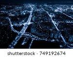 modern city panorama night view   Shutterstock . vector #749192674