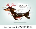 dachshund with new year... | Shutterstock .eps vector #749194216
