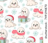 seamless pattern with a cute... | Shutterstock .eps vector #749194870