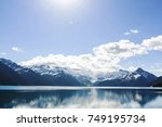 hike to turquoise waters of... | Shutterstock . vector #749195734
